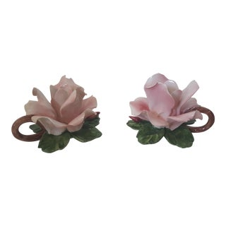 Vintage Italian Capodimonte Glazed Ceramic Rose Candle Holders - A Pair