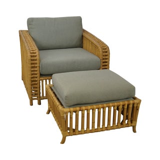 Quality Rattan Bamboo Lounge Chair with Ottoman