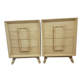 Vintage Faux Bamboo Accent Nightstands - A Pair