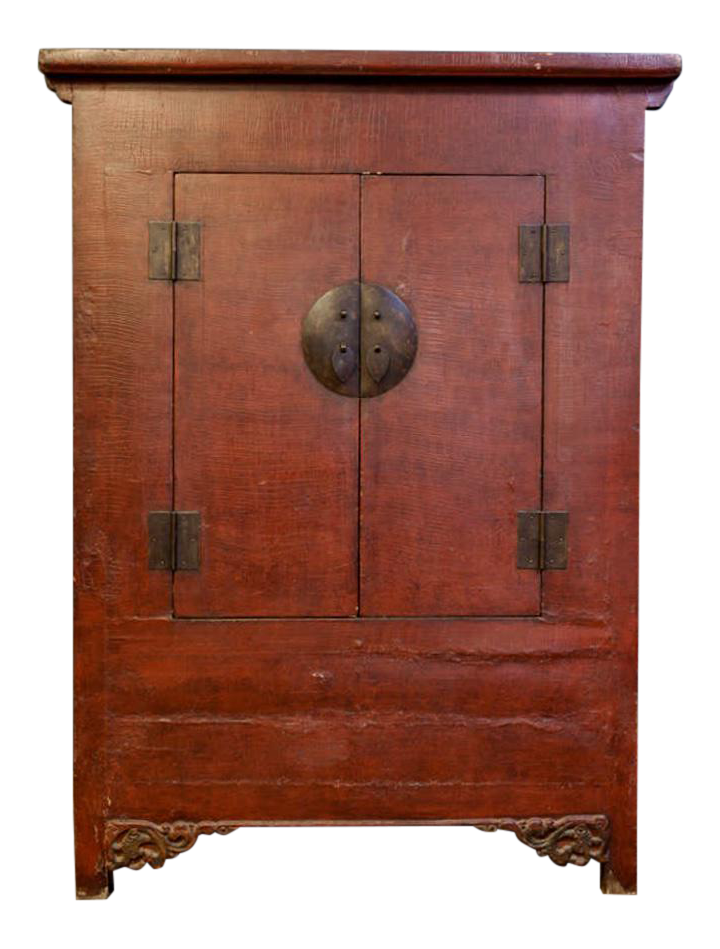 large antique chinese red lacquer two drawer storage cabinet armoire