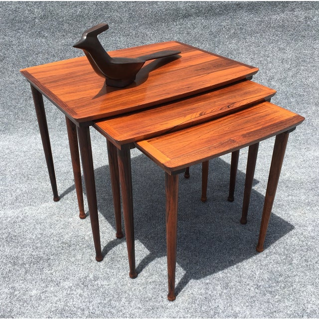 Danish Modern Rosewood Nesting Tables - Image 4 of 6