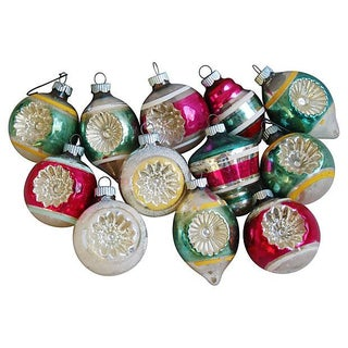 1950s Christmas Tree Ornaments - Set of 12