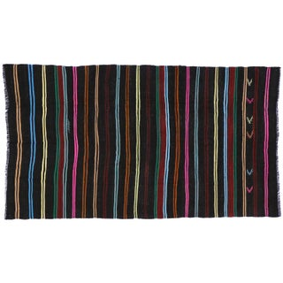 Boho Chic Vintage Turkish Kilim With Stripes and Modern Tribal Style, 7'2 X 12'5