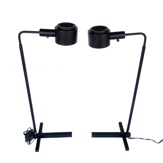 Original Casella Black Floor Lamps - Pair - Image 6 of 9