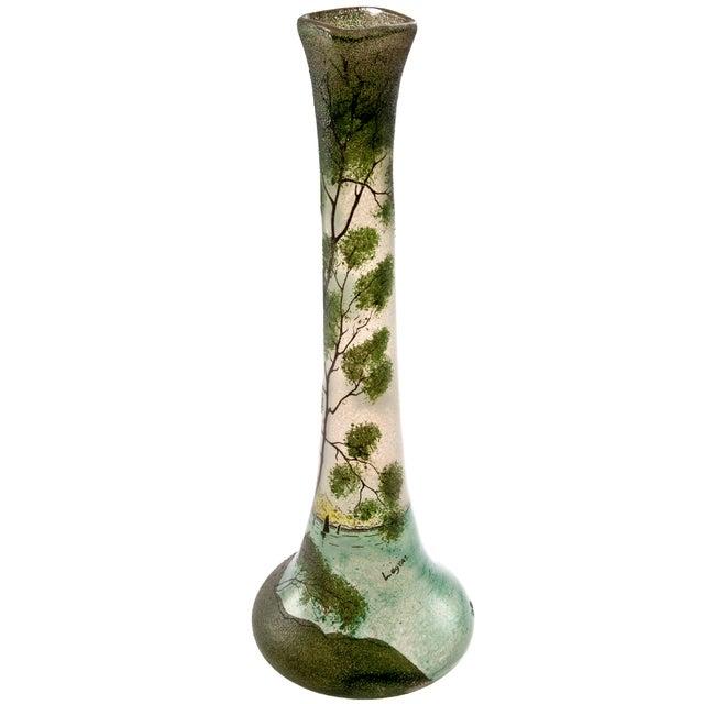 Antique Legras Art Nouveau Hand Painted Glass Vase - Image 2 of 7