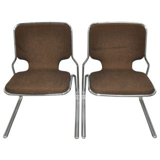 Vintage Chrome & Fabric Side Chairs - Set of 4