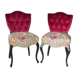 French Tufted Velvet Upholstered Chairs - Pair