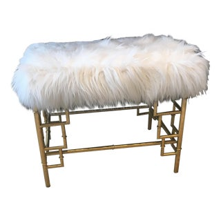 Faux Fur Brass Bench