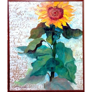 Post Impressionism Sunflower Oil Painting C. 1960's