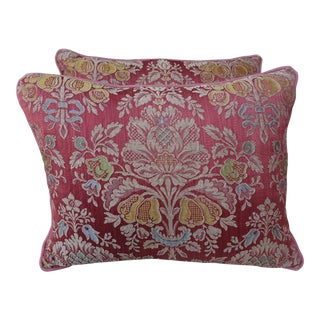Vintage Floral Damask Pink Pillows - A Pair