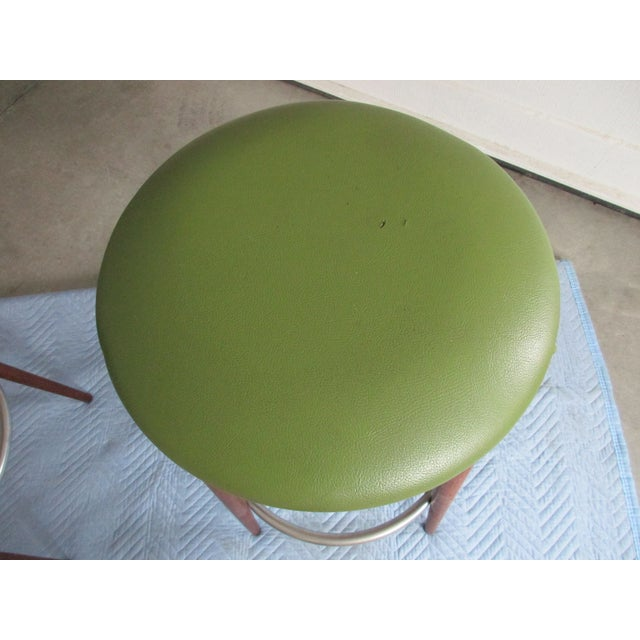 Danish Modern Floating Top Bar Stools - A Pair - Image 7 of 10