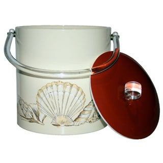 Vintage Seashell Ice Bucket with Lucite Handles