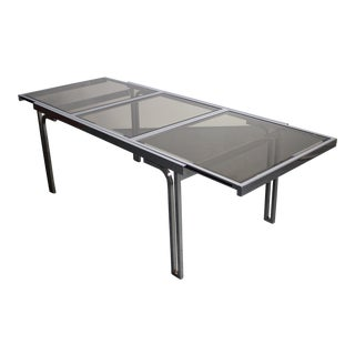 Smoked Glass & Chrome Expandable Dining Table