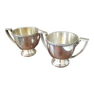 Antique Silverplated Creamer & Sugar Bowls - A Pair