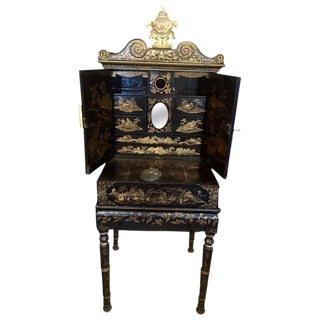 Chinese Export Gilt Decorated Black Lacquer Cabinet on Stand