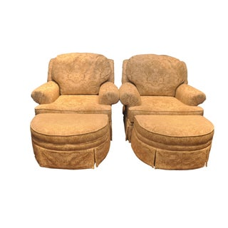Upholstered Club Chairs With Ottomans - Pair