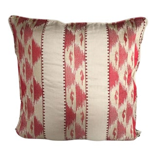 Kim Salmela Red and Beige Embroidered Pillow