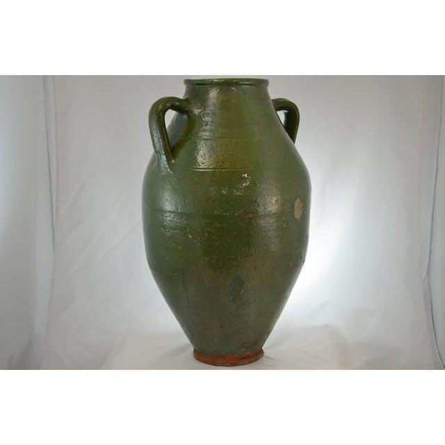 Turkish Oversize Dark Green Glazed Urn - Image 6 of 9