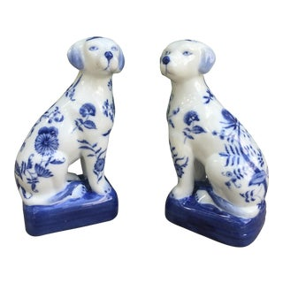 Vintage Wong Lee Crackle Glaze Dogs - A Pair