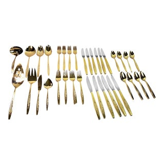 International Deep Silver Gold Plate Flatware Service for 12 - Set of 68