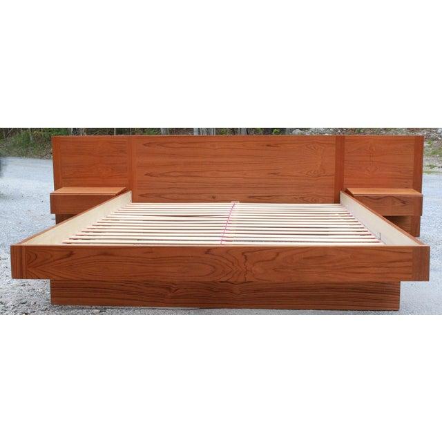 Danish Teak Queen Bed With Floating Nightstands - Image 6 of 11