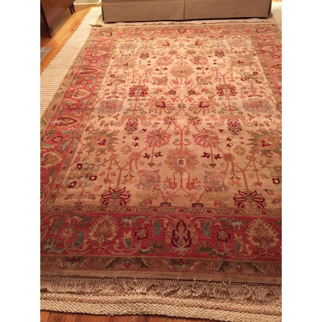 Designer Wool Rug Cream & Red - 8' x 11' - Image 9 of 10