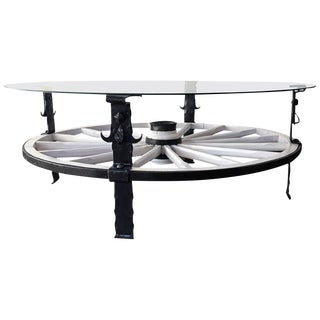 Glass Top Wooden Wagon White Wheel Accent Table