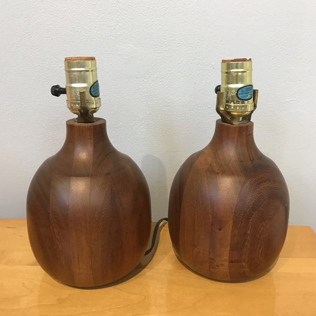 Solid Wood Lamps - a Pair - Image 3 of 5