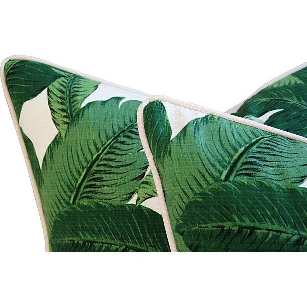 Custom Tropical Iconic Banana Leaf Feather/Down Pillows - a Pair - Image 6 of 7