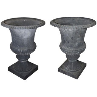 Oversize Cast Iron French Urns - A Pair