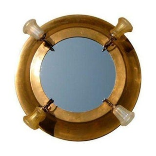 Giant Lighted Ship Cabin Copper Porthole Mirror