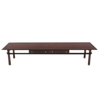 Long Mid-Century Modern Walnut Coffee Table with Two Drawers