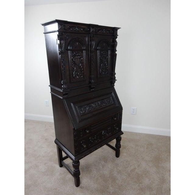 Antique Carved Solid Oak Jacobean Slant Front Desk - Image 10 of 11