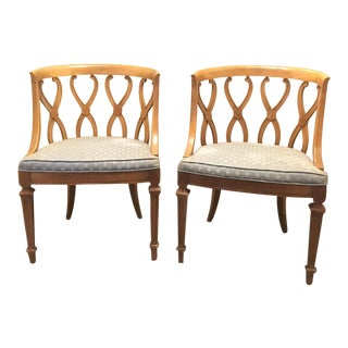 Vintage Hollywood Regency Carved Back Side Chairs - A Pair