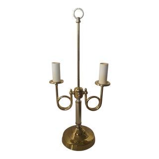 Vintage Brass Bouillotte 2 Arm Trumpet Horn Table Lamp