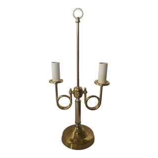 Vintage Brass French Bouillotte 2 Arm Trumpet Horn Table Lamp