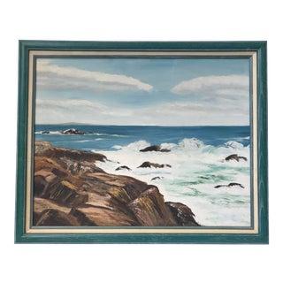 Mid Century Ocean Landscape Painting