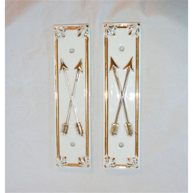 Limoges Golden Arrow Push Plates- A Pair - Image 3 of 9