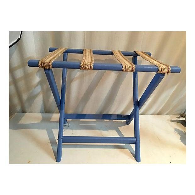 Sky Blue & Sisal Luggage Rack - Image 2 of 4