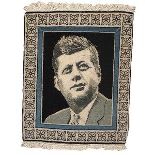 1980s Vintage Persian Tabriz Kennedy Portrait Rug - 1′4″ × 1′9″