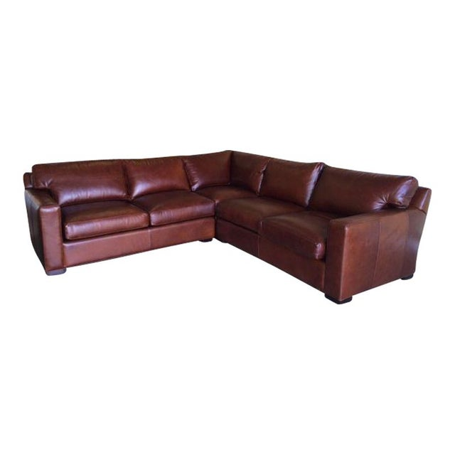 Crate Barrel Leather Sectional Sofa Chairish