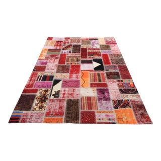 Vintage Turkish Overdyed Patchwork Oushak Distressed Rug - 5′7″ × 7′3″