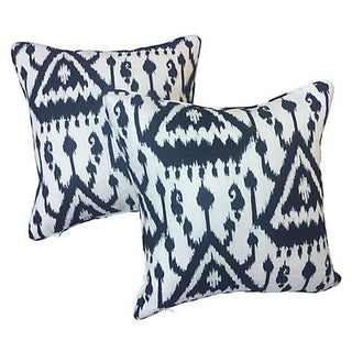 Black & White Ikat Linen Pillows - Pair