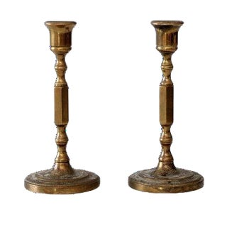 Antique Brass Candlestick Holders - A Pair