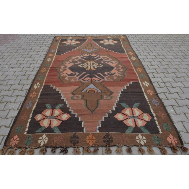 "Hand-Woven Turkish Kilim Rug - 6'7"" X 11'3"" - Image 10 of 10"