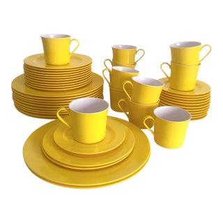 Vintage Mid Century Modern Oneida Deluxe Lemon Yellow Melmac Dinnerware - 48pc Set
