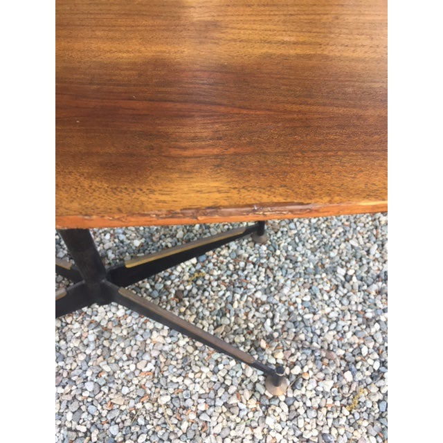 Vintage Mid-Century Modern Steel Based Walnut Coffee Table - Image 7 of 9