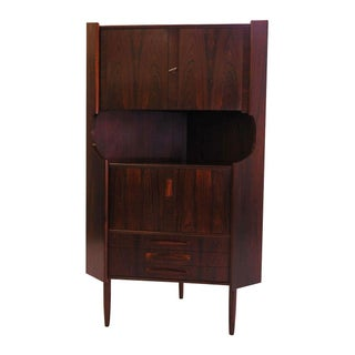 Danish Rosewood Corner Locking Bar Cabinet