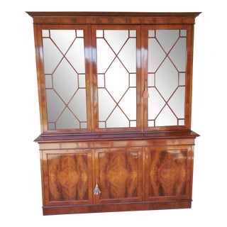 Antique Georgian Style Mahogany Bookcase Cabinet