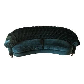 Anthropologie Green Velvet Cadwyn Tufted Sofa